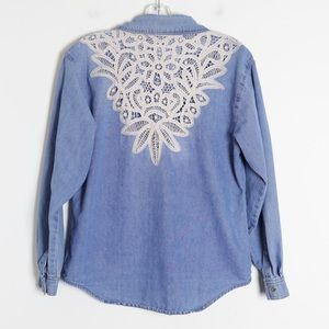 🌺2/15$ Chambray loose lace boho country western